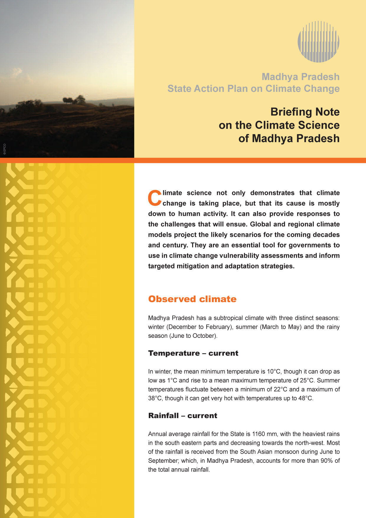 Briefing Note on the Climate Science of Madhya Pradesh